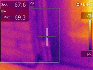 Side of Fireplace with Infared Scan